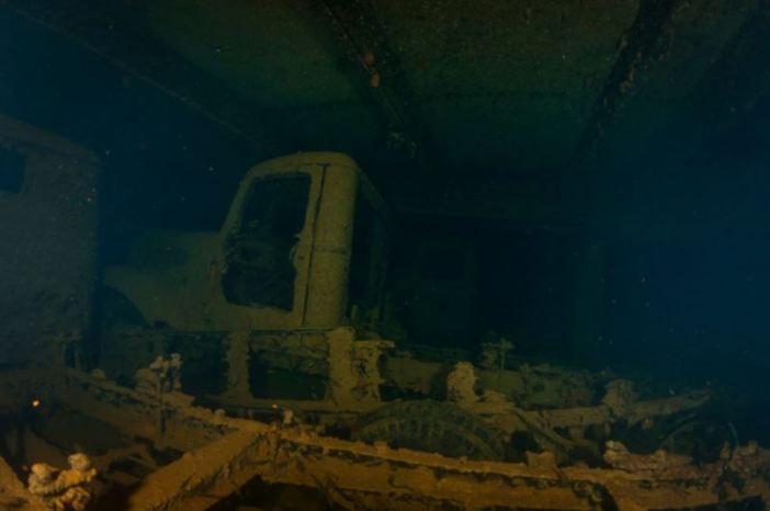 Trucks in the Hoki Maru. (Credits: Brandi Mueller)