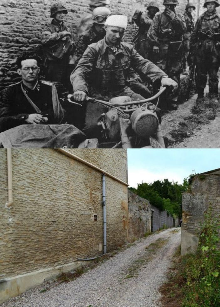 SS-Hauptsturmführer Rudolf von Ribbentrop, in the sidecar and driving the motorcycle is SS-Obersturmbannführer Max Wünsche, Rgt. Komm. of SS-PzRgt 12, after visited the survivors of III Zug 15:25 in Rots