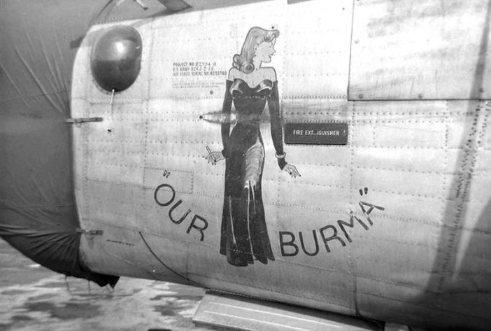 """Nose-Art from the B-24J """"Our Burma"""", 755th Bombardment Squadron, 458th Bombardment Group of the Eight Air Force."""