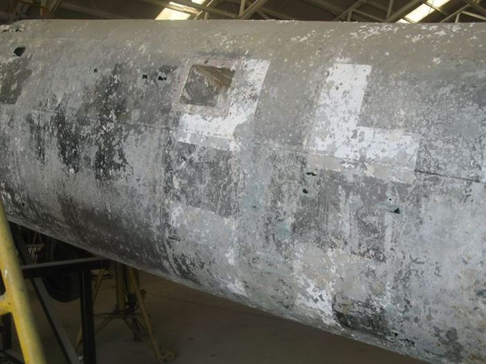 The Balkenkreuz is still visible on the side of the fuselage after more than 70 years at sea.