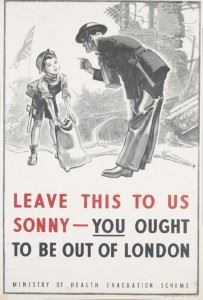 The UK Ministry of Health advertised the evacuation programme through posters, among other means. The poster depicted here was used in the London Underground.