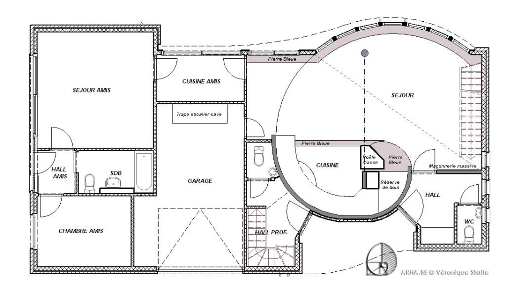 Plan rez d'une maison éco-bio-climatique conçue par Véronique Staffe inspirée par la spirale du nombre d'or.