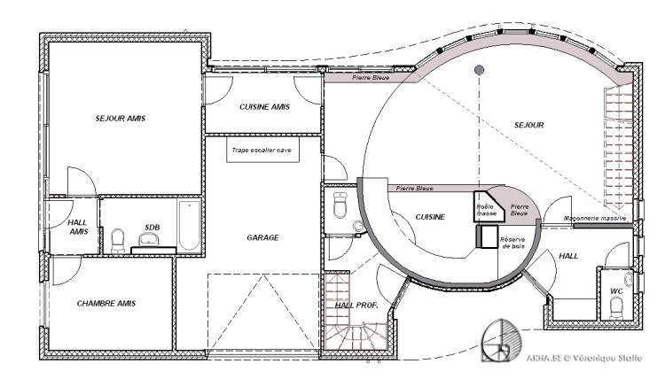 Plan rez d'une maison éco-bio-climatique conçue par Véronique Staffe inspirée par la spirale du nombre d'or. Cette forme génère l'harmonie dans l'habitat