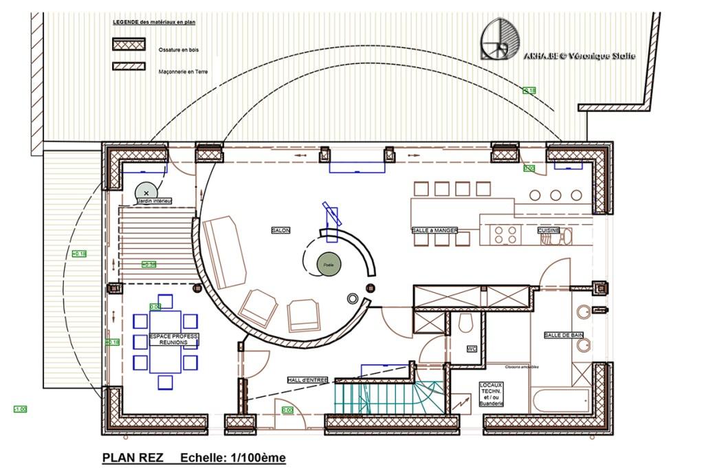 Plan maison énergie positive conçue par Véronique Staffe