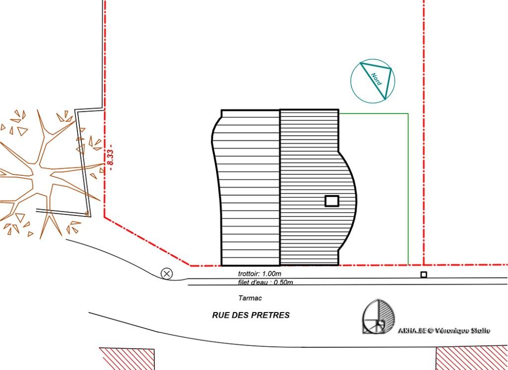 Implantation maison eco-bio-climatique conçue par Véronique Staffe