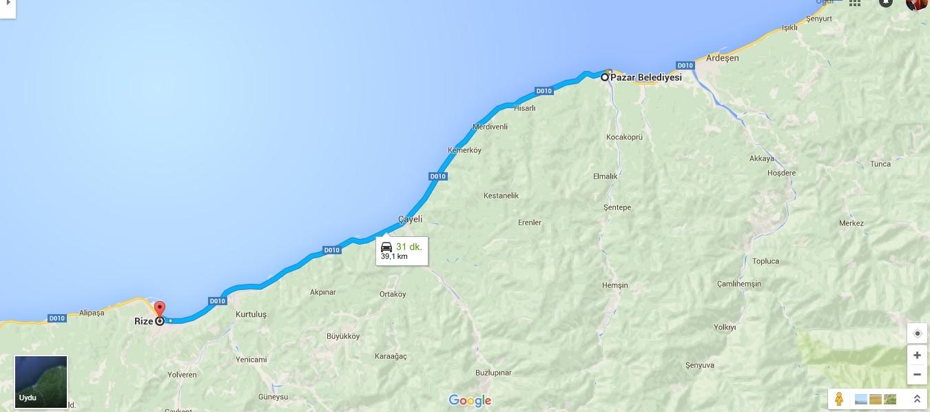 2--- 39 KM Rize  Belediyesi -  Pazar belediyesi