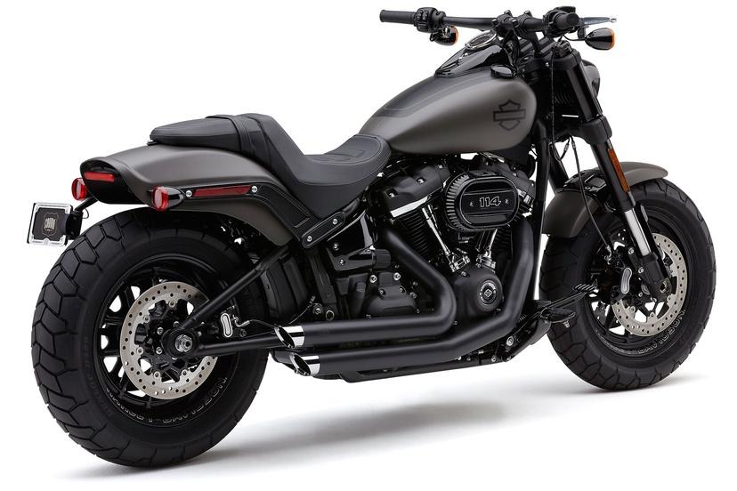 cobra speedster slashdown 2 2 exhaust system in black for harley davidson 2018 2020 fat bob motorcycles 6864b