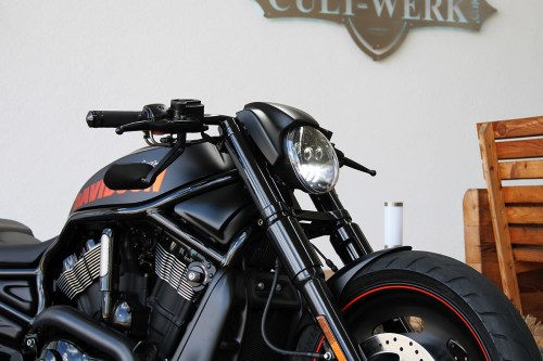 small resolution of cult werk headlamp mask night rod style in gloss black finish for harley davidson 2002