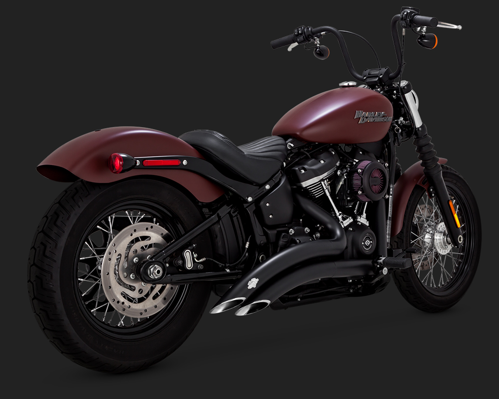 vance hines big radius 2 into 2 exhaust in black for harley davidson 2018 2020 softail motorcycles excl fat boy breakout 46077