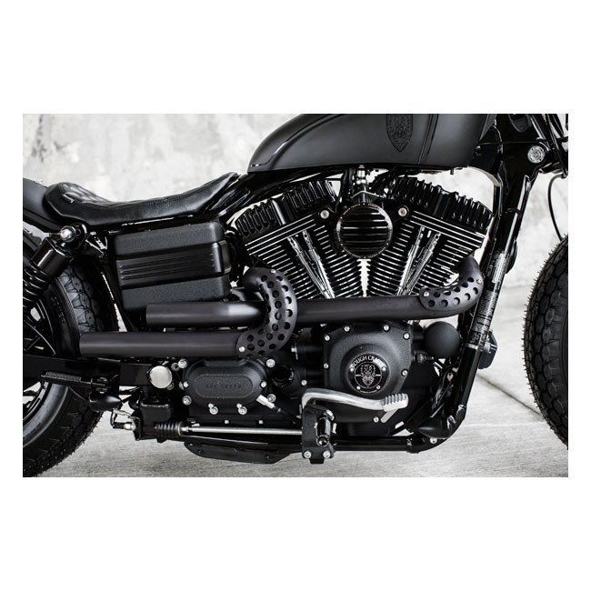 rough crafts guerilla exhaust system in black finish for harley davidson 2006 2017 dyna models arm568339