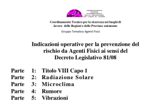 Indicazioni operative per la prevenzione del rischio da Agenti Fisici