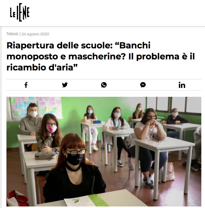 LE IENE Riapertura delle scuole Banchi monoposto e mascherine? problema il ricambio aria