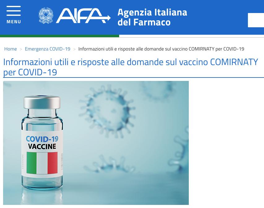 Vaccino Covid-19 della Pfizer: le FAQ dell'AIFA