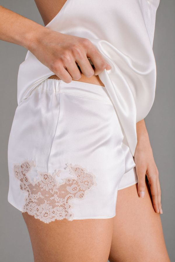 White silk satin bloomers with Leavers lace