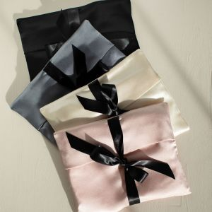 satin lingerie pouch with satin ribbons