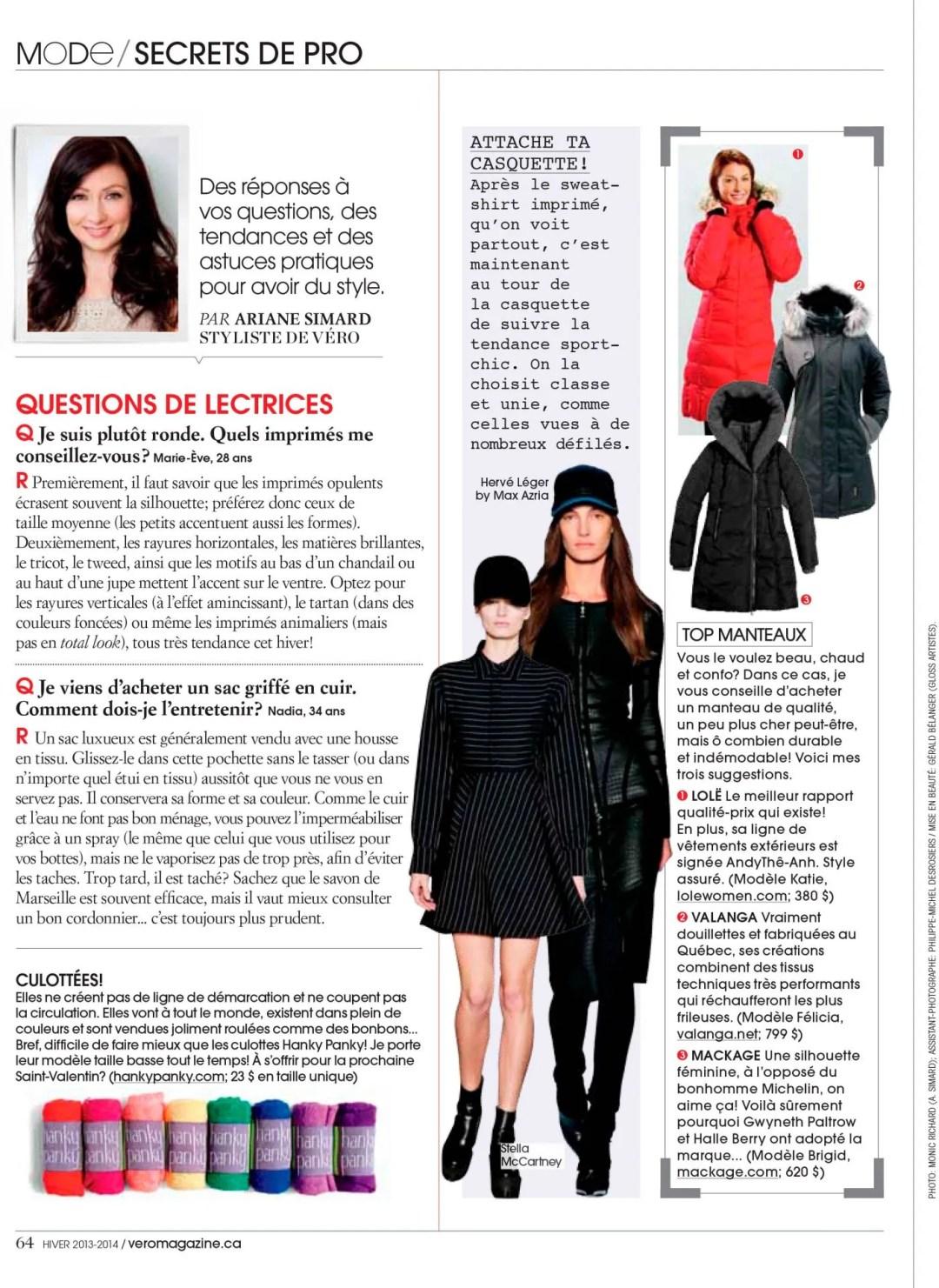 Secrets de pro Magazine VERO Ariane Simard Hiver 2013 2014