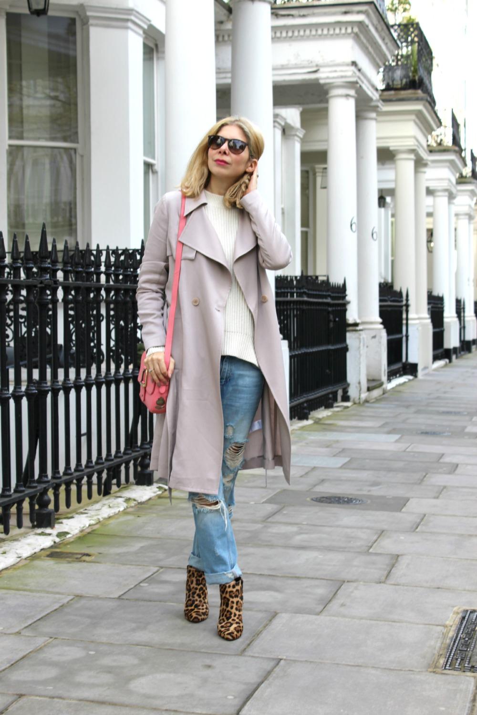 Reiss trench, allsaints jumper, zara boyfriend jeans, J crew leopard print boots, Village England handbag, rayon sunglasses, ootd.