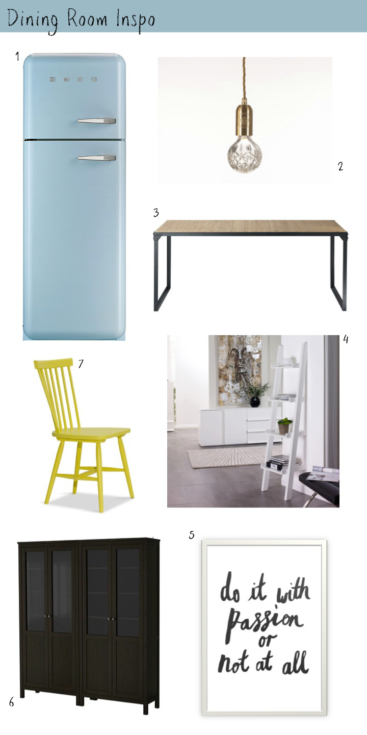 1/ Smeg Fridge. 2/ Lee Broom Crystal Light Bulbs. 3/ Industrial Dining Table. 4. Escala White Shelf. 5. LH Design Print. 6/ Black Glass Cabinet. 7/ Asta Yellow Chair.