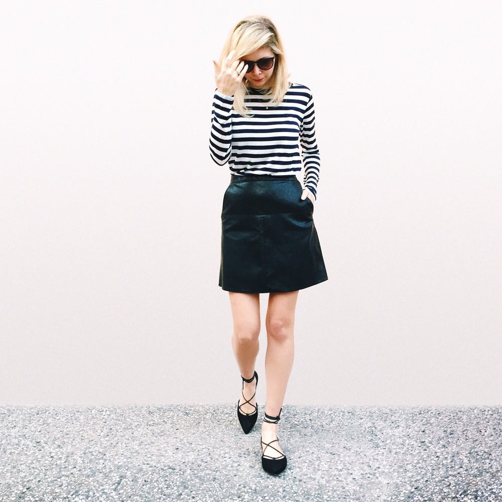 Stuart Weitzman for Russell & Bromley Lace up pointy flats with leather skirt form ASOS and stripe tee from Gap.