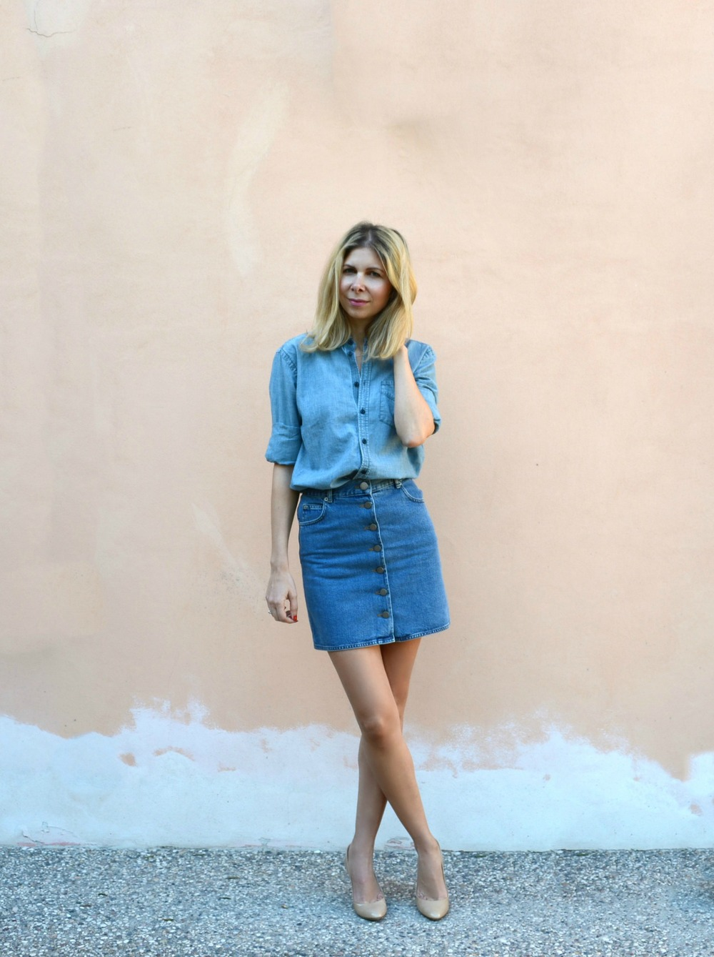 ASOS Denim skirt, Madewell shirt, Jimmy Choo shoes.