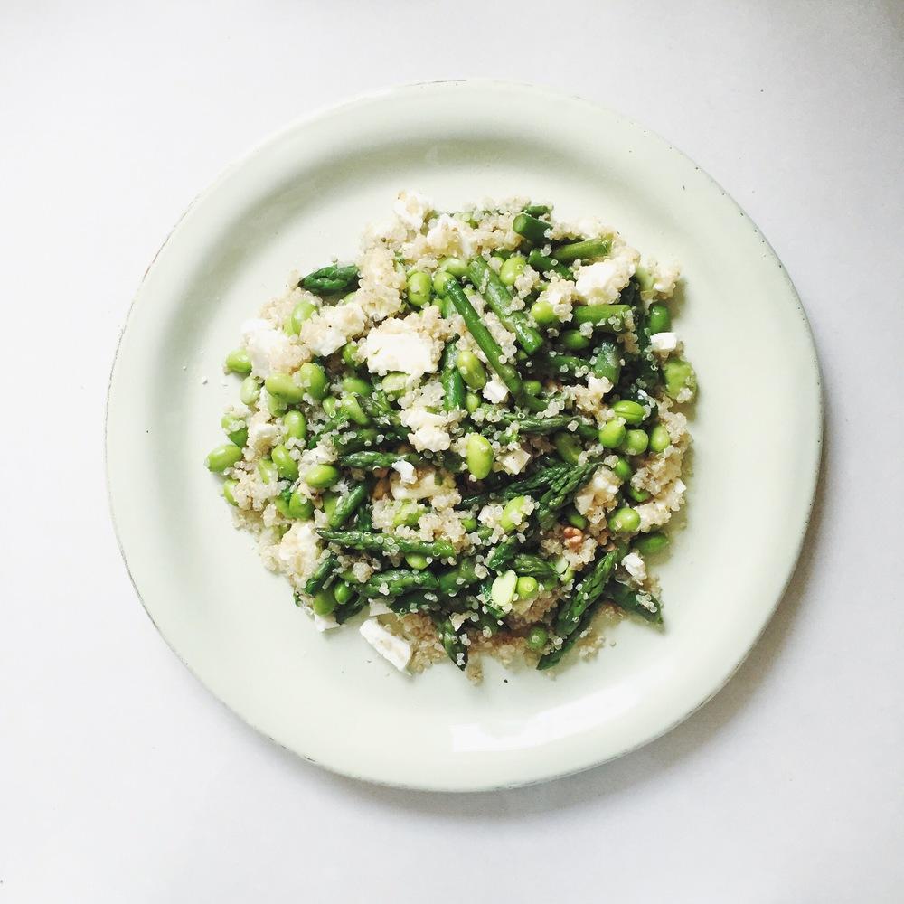 Quinoa salad with asparagus, edamame, feta cheese, walnuts.