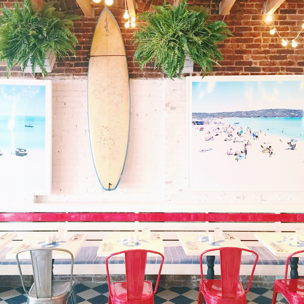 Cool interiors at Pizza Beach.