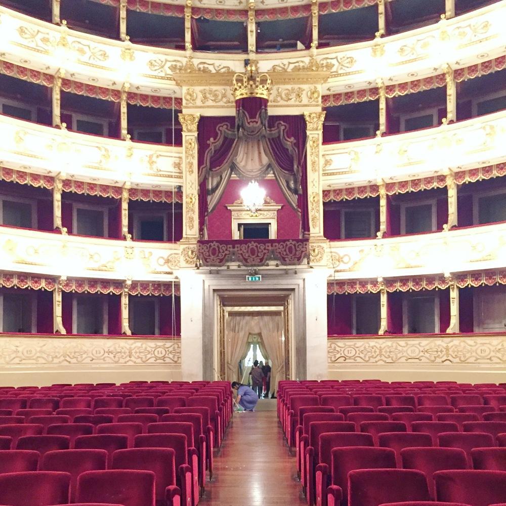 Inside the Opera House known as Teatro Regio di Parma.