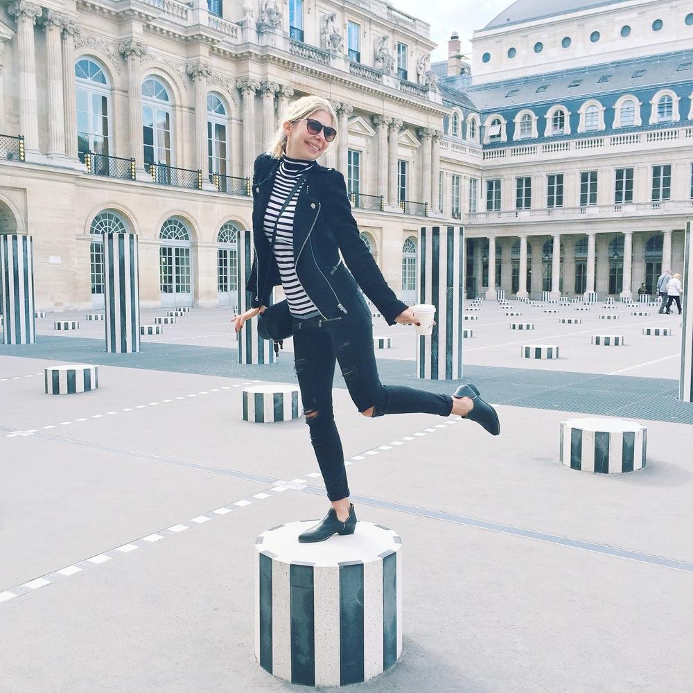 Goofing around at Les Colonnes De Buren