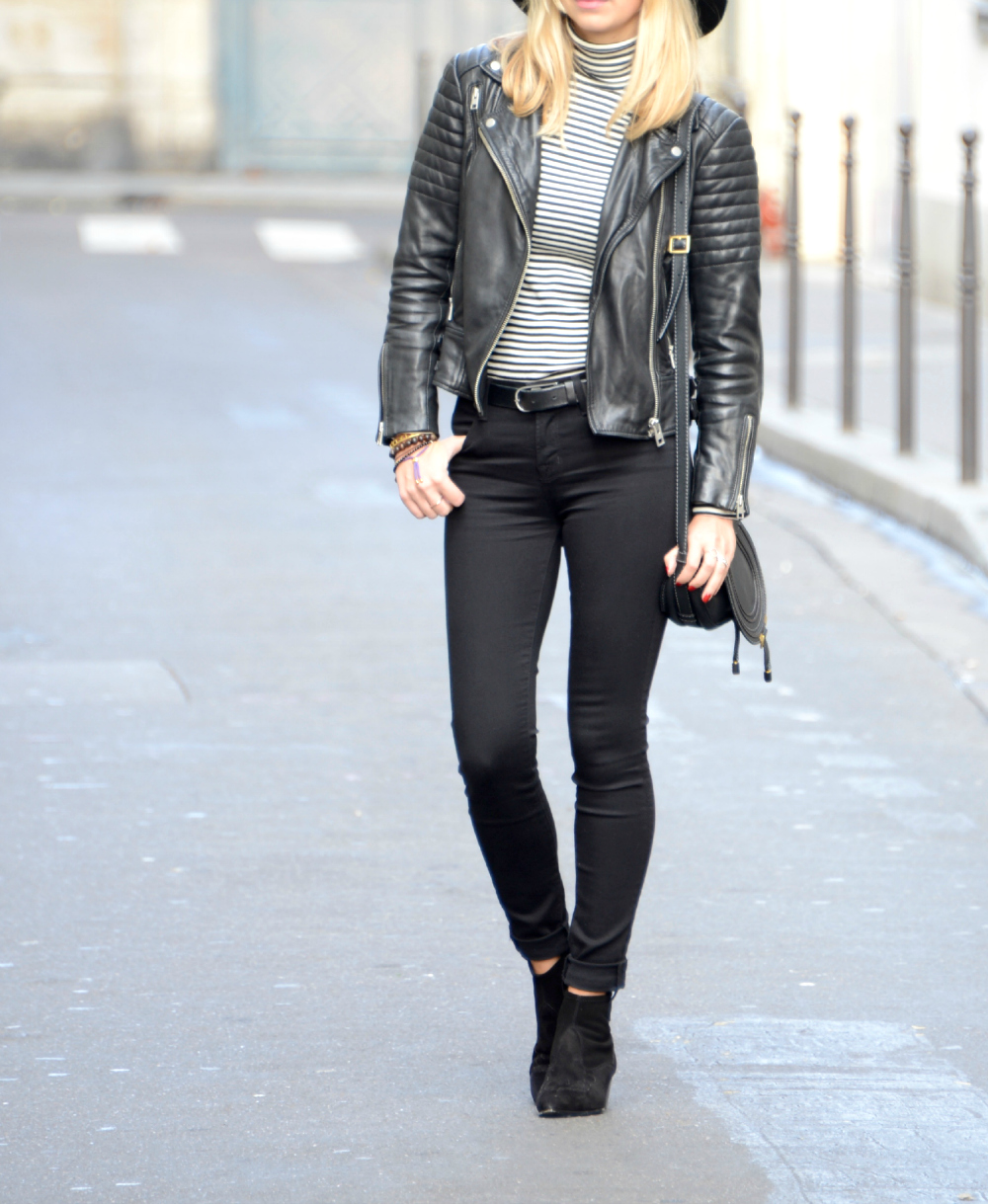 Arianna Trapani wearing Ash boots, Allsaints leather jacket, Jbrand skinny jeans, petit Bateau stripe top, Topshop floppy fedora hat. Street style look.