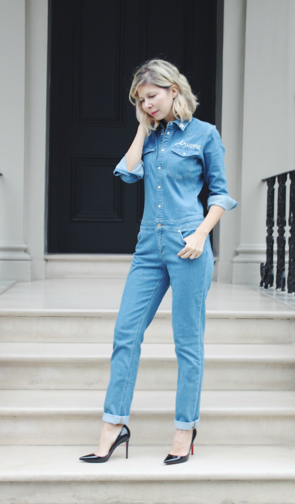 Arianna Trapani wears Donna Ida Denim jumpsuit, 'Hello Sadie'.