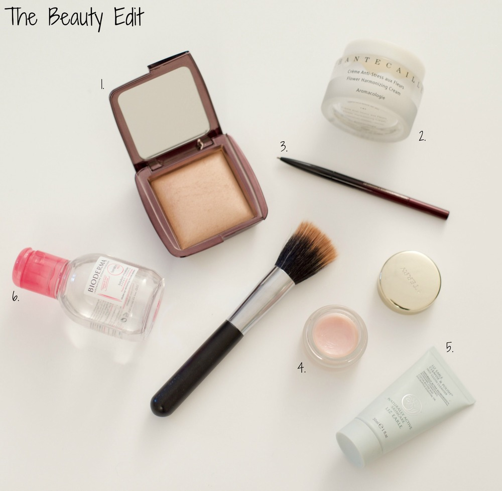 1. Hourglass lighting powder, 2. Chantecaille flower harmonizing cream, 3. Kevyn Aucoin The Pencil Brow, 4. By Terry Baume De Rose, 5. Liz Earle Cleanse & Polish, 6. Bioderma Solution Micellaire.