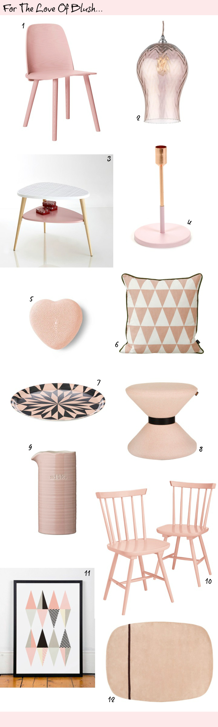 Pantone colour of the year Rose Quartz - Blush Pink Interiors  Accessories