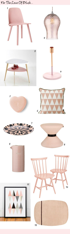 Pantone colour of the year Rose Quartz - Blush Pink Interiors Accessories