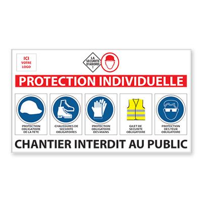 """Panneau de chantier personnalisé """"Protection Individuelle"""""""