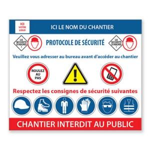 """Panneau de chantier personnalisé """"Protocole de Sécurité"""""""
