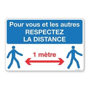 """Panneau de chantier - """"Respectez la distance"""""""