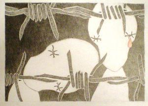 MONIA FONTANA. Figure bianche dietro filo spinato.