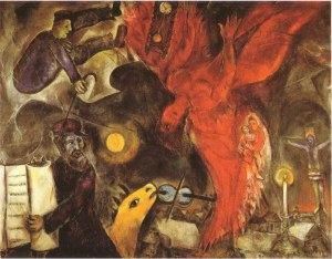 LA CADUTA DELL'ANGELO (1923 - 1933 - 1947) Marc Chagall (1887 - 1985) Kunstmuseum - Basilea Tela cm. 148 x 166