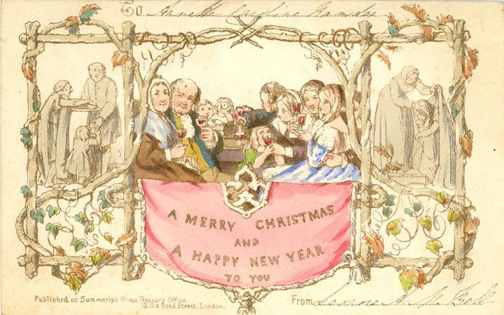 La prima cartolina di auguri per il Natale disegnata nel 1843 da John Callcott Horsley (1817-1903)