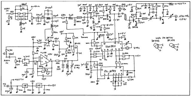 schematic diagram of the audio section