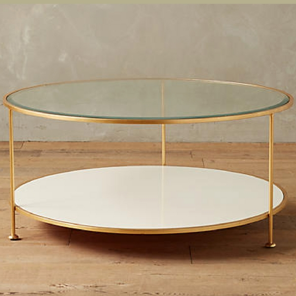 Anthropologie Lacquered Brass Round Coffee Table Arie Co