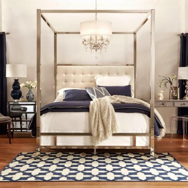 Transitional Modern Glam Navy White Bedroom