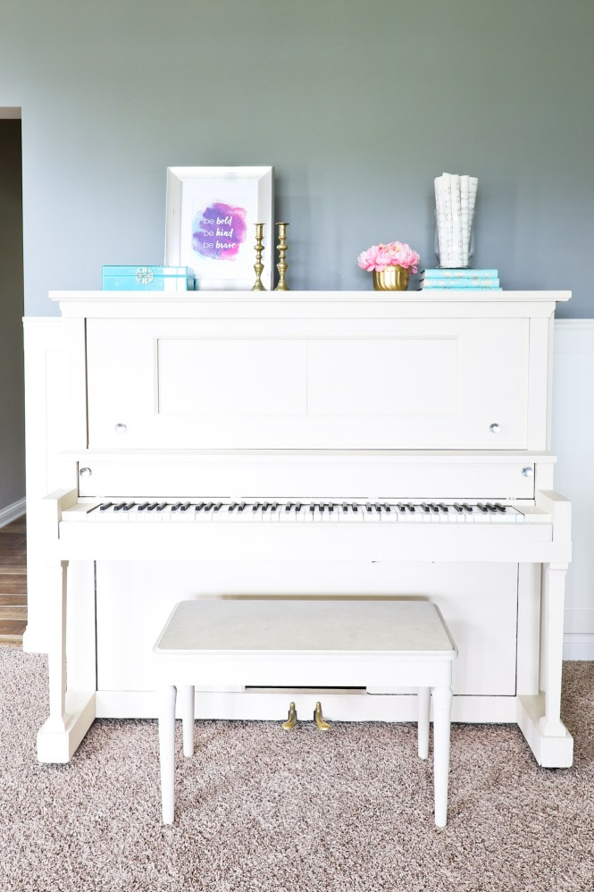 Colorful Glam Piano Room Sitting Room Reveal - Arie + Co.