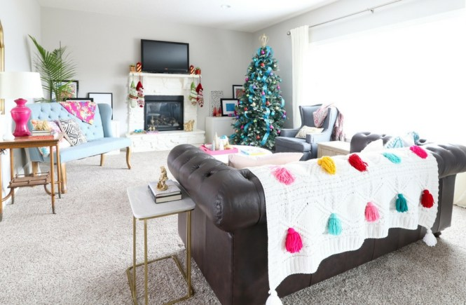 Jewel Tone - Colorful Glam Christmas Home Tour - Living Room - Pink and Teal