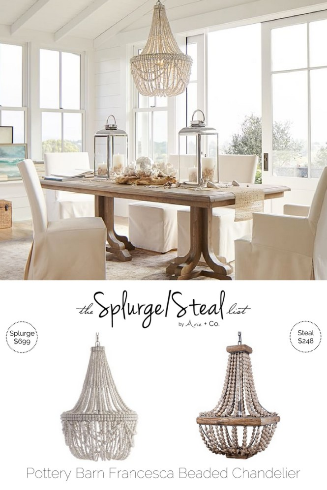 Splurge vs. Steal - Pottery Barn Francesca Beaded Chandelier; Pottery Barn Knockoff Knock off; Chandelier Dupe