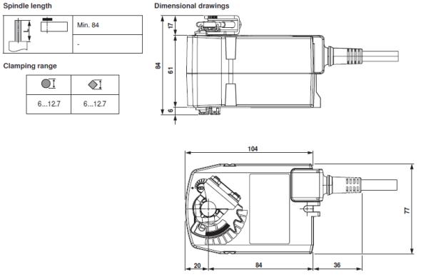 Disegno con dimensioni motore Belimo TF230 per serranda di taratura