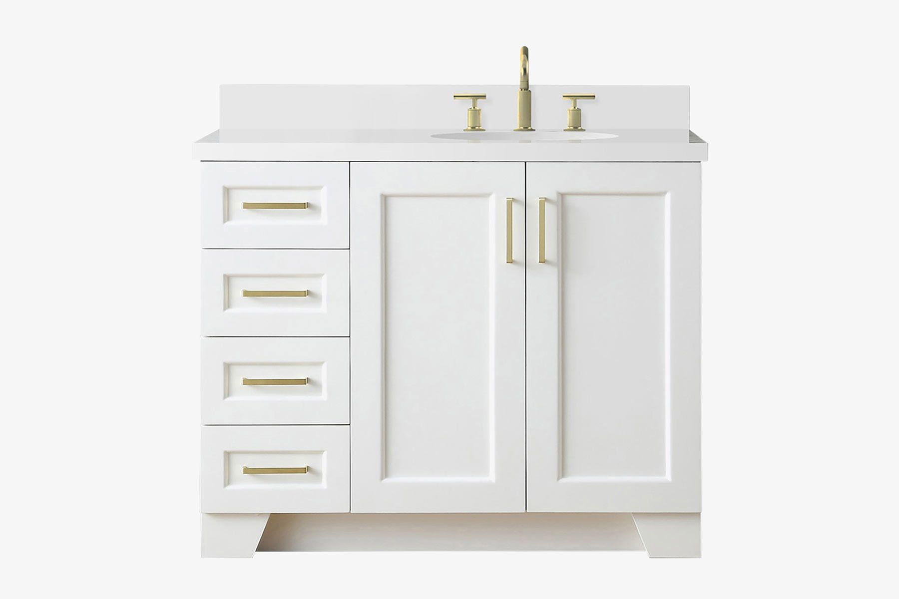 ariel taylor 43 in right offset single oval sink vanity in white