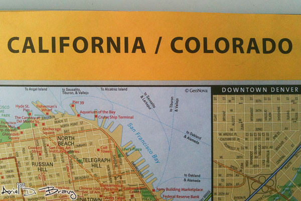 California and Colorado side-by-side in the National Geographic Atlas