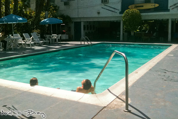 Relaxing by the pool at the Backpackers Hostel
