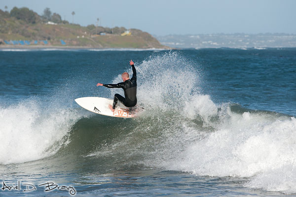 Surfing by the coast